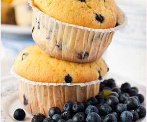 blueberries, food, and muffins image