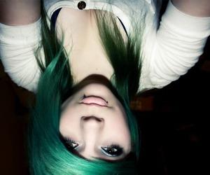 girl, green hair, and hair image