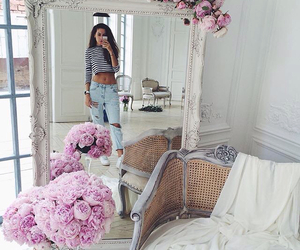 flowers, pink, and mirror image