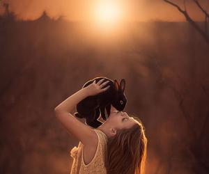 rabbit, girl, and kiss image