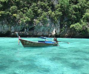sea, boat, and nature image