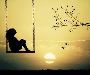 girl, sunset, and swing image