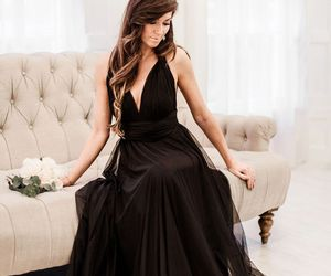black prom dress, black prom gown, and full length prom gown image
