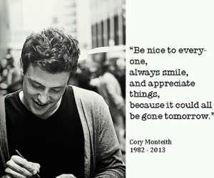 cory monteith, glee, and quote image