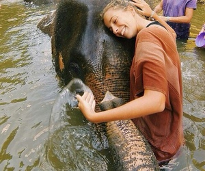 elephant, girl, and love image
