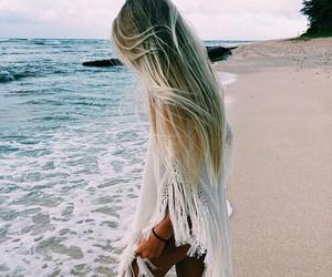 beach, girl, and hair image