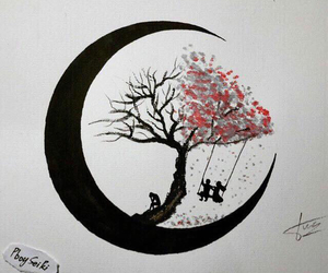 art, moon, and tree image