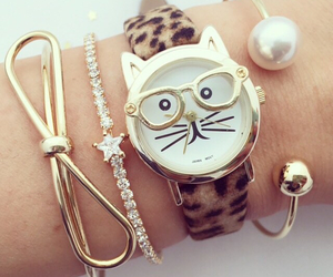 watch, accessories, and cat image
