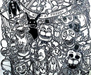 black and white, five nights at freddys, and fnaf image