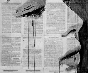 art, black and white, and sad image