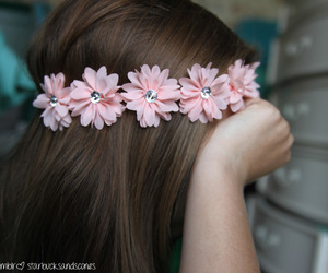flower crown, pink flowers, and want image