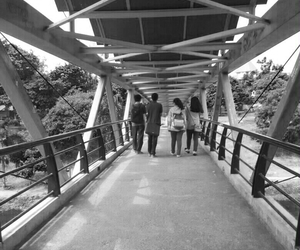 around, boys, and bridge image