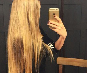 hair, blonde, and iphone image