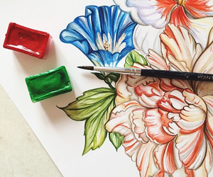 drawing, flowers, and doll-memories image