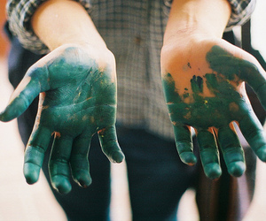 hands, paint, and green image