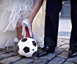 wedding, couple, and football image