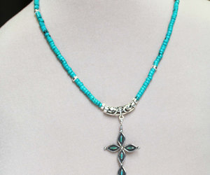sterling silver, turquoise necklace, and cross pendant image