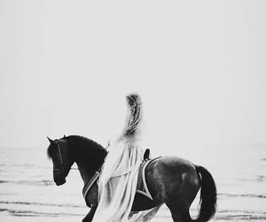 black and white, girl, and horse image