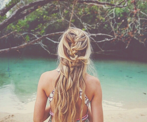 beach, bright, and girl image