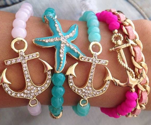 bracelet, pink, and anchor image