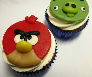 cupcake, food, and birds image