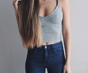 fashion, hair, and jeans image