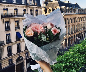 city, love, and flowers image