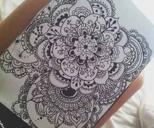 drawing, flowers, and henna image