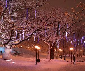 christmas, snow, and town image