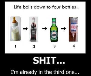 funny, bottle, and life image