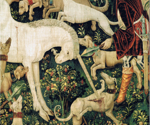 dogs, tapestry, and unicorn image