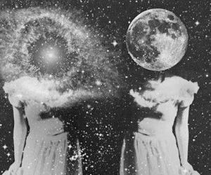 black and white, girls, and moon image
