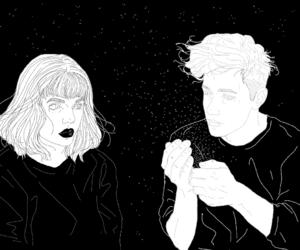 grunge, art, and black and white image