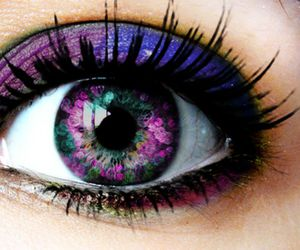eye, eyes, and purple image
