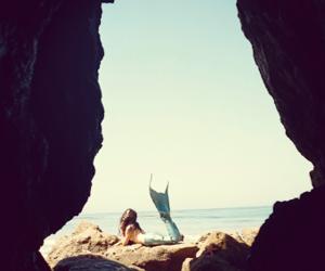 mermaid, sea, and beach image