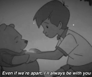 quotes, winnie the pooh, and black and white image