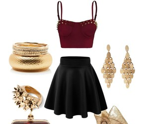 skirt, fashion, and gold image