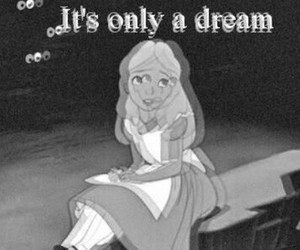 alice in wonderland, black and withe, and Dream image