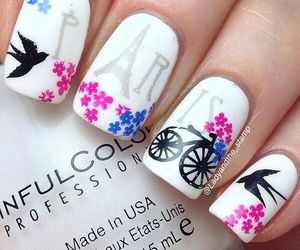 nails, paris, and flowers image