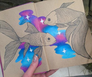 fish, sketchbook, and space image