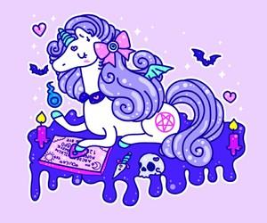 unicorn, pastel goth, and pastel image