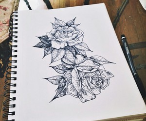 drawing, rose, and art image