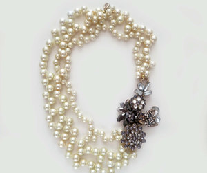 bridal necklace, pearl necklace, and wedding necklace image