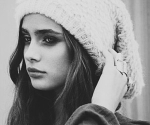 beanie, beauty, and black&white image