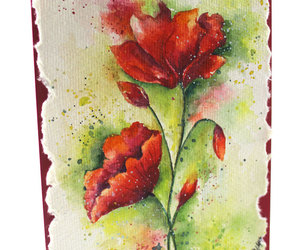handpainted, ooak, and red poppies image