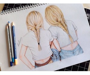 art, blonde, and drawing image