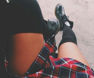 boots, grunge, and plaid image