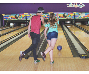 bowling, boyfriend, and couple image