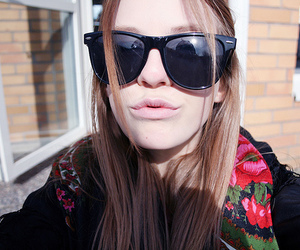 blonde, lips, and sunglasses image