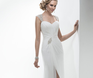wedding gown, chiffon dress, and beading image